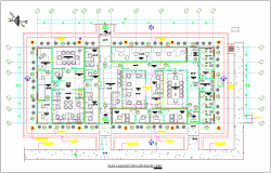Field of office floor plan with architectural view dwg file