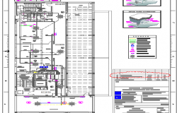 Fifth floor plan with technical specification of corporate building dwg file