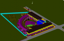 Final design of house with ground in 3d view dwg file