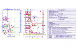 Finishing plan with material box for two level house plan with wall,door and window view for house dwg file