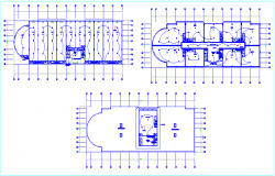 Fire alarm system view with electrical cable for commercial building dwg file