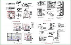 Fire fighting and AC view with pipe line for office dwg file