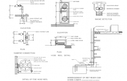 Fire house plan detail dwg file
