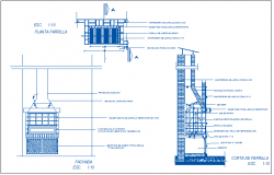 Fire place details with grill of barbecue kitchen dwg file