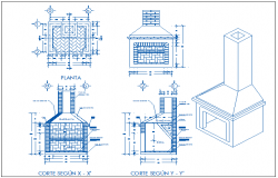 Fire place elevation and sectional view of barbecue restaurant dwg file