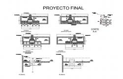 Fire place grill of kitchen elevation, section and structure details dwg file