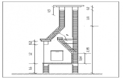 Fire place of barbecue kitchen elevation details dwg file