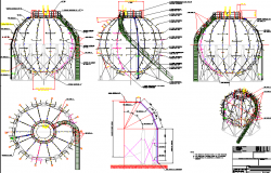 Fire protection for spherical tanks plans detail dwg file