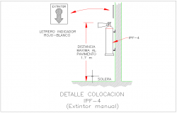 Fire safety carbon dioxide cylinder Detail of placement dwg file