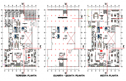 First, second and terrace layout plan details of regional government office dwg file