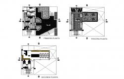 First, second and terrace plan details of library with education center dwg file