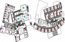 First and Second Floor plan of Specialized General Hospital Project dwg file