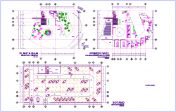First and basement plan of tower dwg file