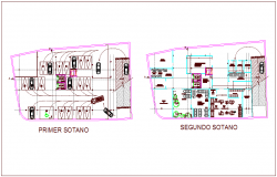 First and second basement plan for hospital dwg file