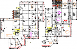 First and second floor layout plan details of office with mi-nary center dwg file