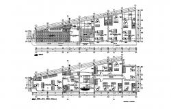 First and second floor plan details of corporate office building dwg file