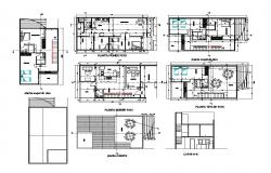 First and second floor plan details of house with cover plan details dwg file