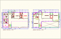 First and second floor plan for office of education center dwg file
