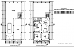 First and second floor plan in four level housing view with architecture view dwg file