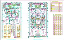 First and second floor plan of apartment  with schedule of door and window dwg file