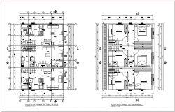 First and second floor plan of apartment with architectural view dwg file