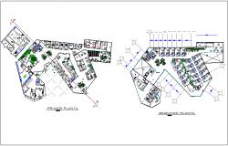First and second floor plan of child and maternal clinic dwg file