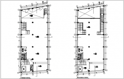 First and second floor plan of commercial building dwg file