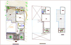First and second floor plan of communal office building dwg file