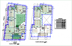 First and second floor plan of community center with door and window detail dwg file