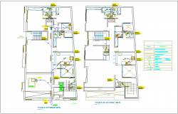 First and second floor plan of first level sanitary view with its legend for two level house dwg file