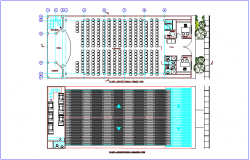 First and second floor plan of government communal room dwg file