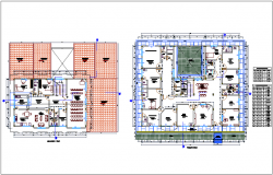 First and second floor plan of hospital dwg file