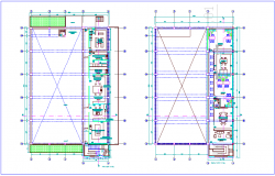 First and second floor plan of laboratory dwg file