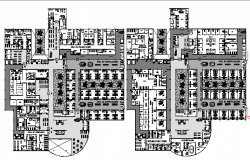 First and second floor plan of multi-flooring hospital dwg file