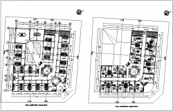 First and second floor plan of municipal building dwg file