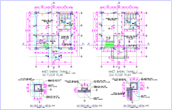 First and second floor plan of office with detail dwg file