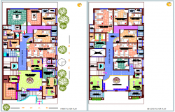 First and second floor plan view of hospital dwg file