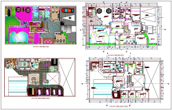 First and second floor plan view with color scheme plan for spa design dwg file