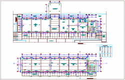 First and second floor plan view with door and window detail view for collage design dwg file