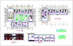 First and second floor plan with elevation,section and door and window detail for community center dwg file