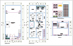 First and second floor plan with elevation and section view of office building dwg file