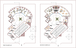 First and second floor plan with view of architectural for school of architectural dwg file
