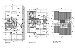 First floor, second floor and cover plan details of one family house dwg file