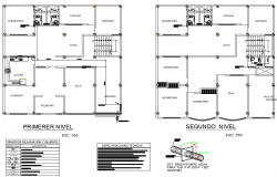 First floor and second floor house plan detail layout file