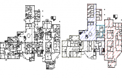 First floor and second floor plan of health care center dwg file