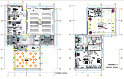 First floor and tarrece floor plan detail dwg file