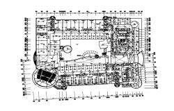 First floor distribution plan details of engineering college building dwg file