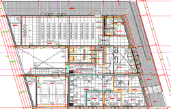 First floor layout plan details of administrative office dwg file