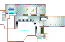 First floor layout plan details of bank building dwg file