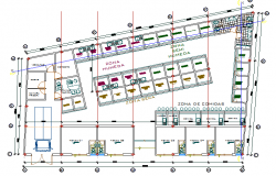 First floor layout plan details of central shopping center dwg file
